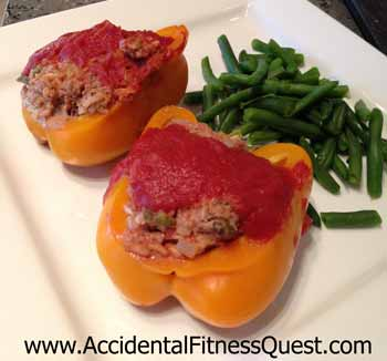 Sweet Peppers Stuffed with Beef and Jasmine Rice