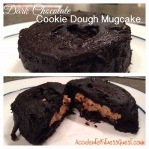 Dark Chocolate Mugcake with Cookie Dough Filling