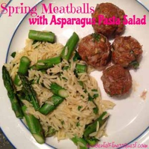 Spring Meatballs with Asparagus Pasta Salad