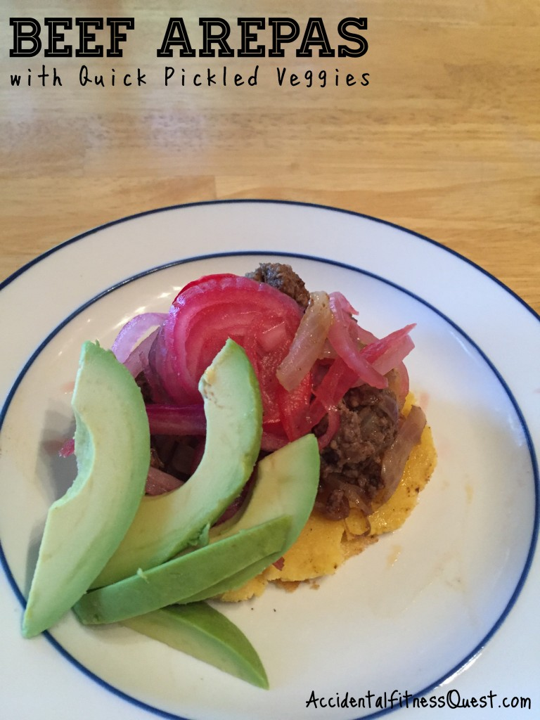 Beef Arepas with Pickled Veggies